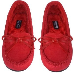 JJ Shoes Women's Faux Suede Red Moccasins, SZ 8.5